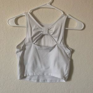 white crop top with bow back